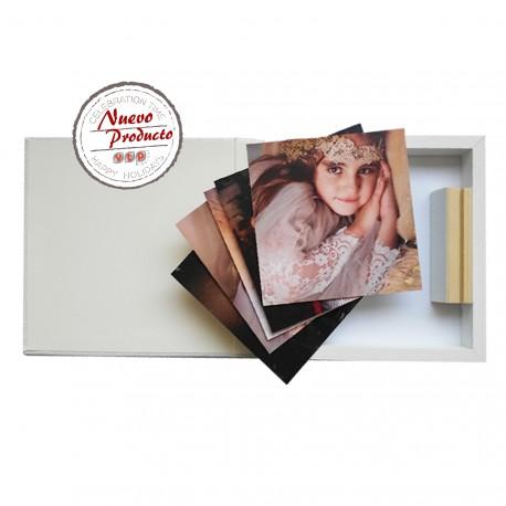 Mod IC2525I Foto PVC+Soporte+Caja Iguana Blanca Madera Blanca 4 cm con lazo